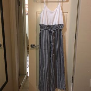 White and black striped jumpsuit NEW